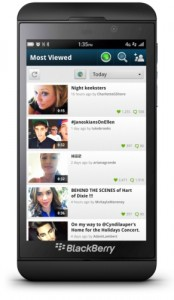 "KEEK ""MOST VIEWED"" SCREEN ON BLACKBERRY Z10"