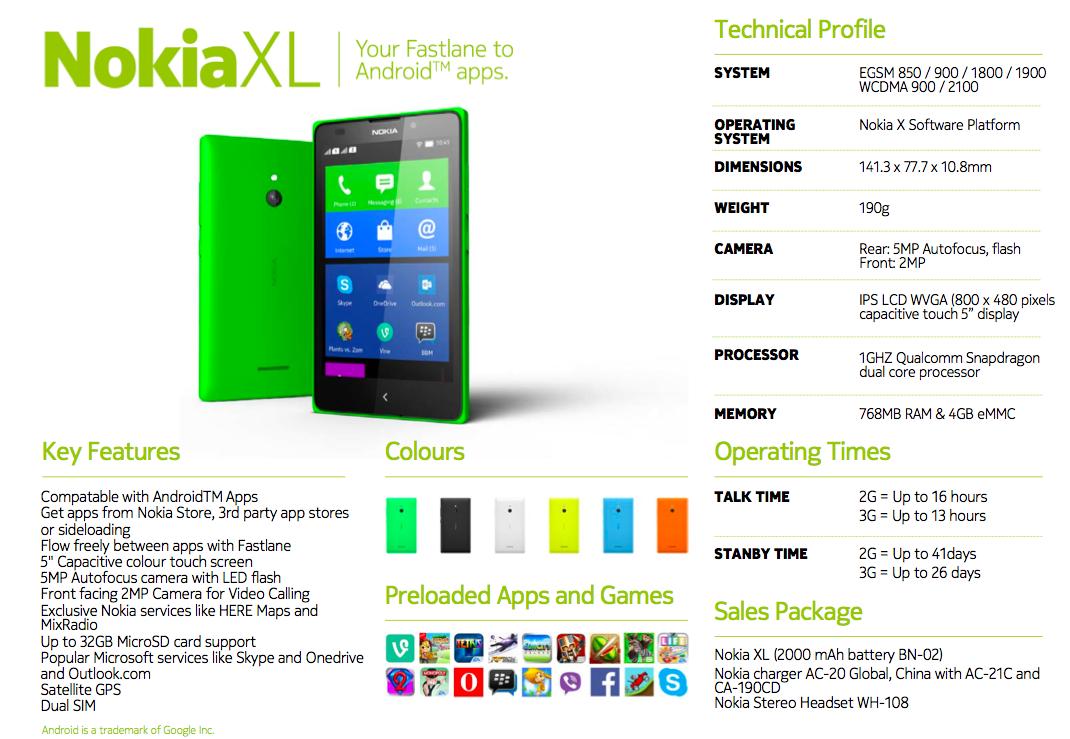 Nokia-XL-Spec