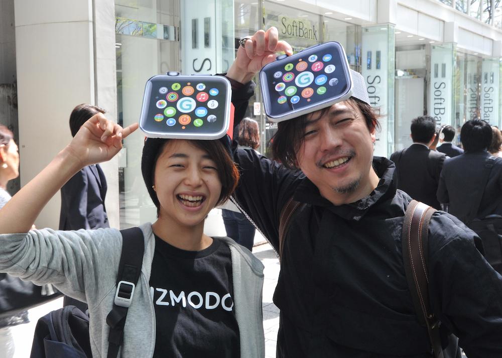 Makoto Saito (23) and Kazumi Oda (4X)  , Apple watch, at Omotesando on April 24, 2015.  Andrew reports. YOSHIAKI MIURA PHOTO