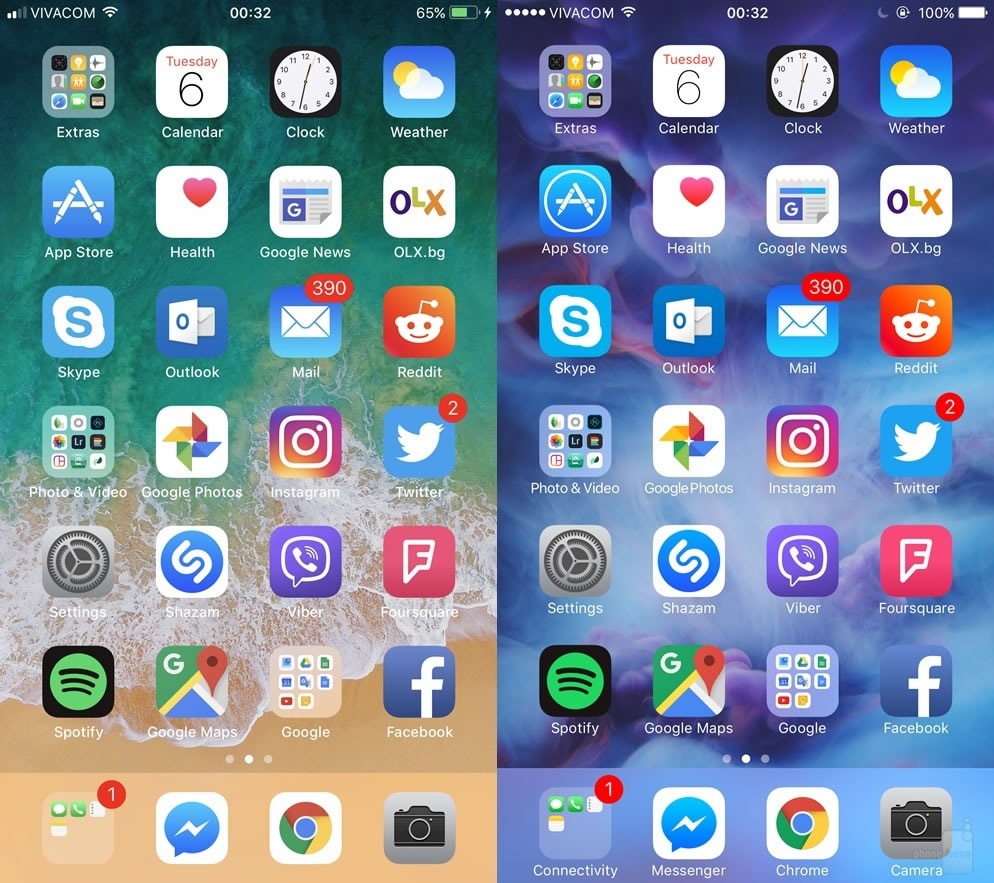 ios11-vs-ios10-home-screen